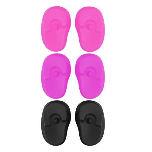 SUPVOX 3 pares de tinte para el cabello fundas para los oídos de silicona a prueba de agua protector para el cabello reutilizable peluquería tinte para el cabello herramienta de baño ecológica