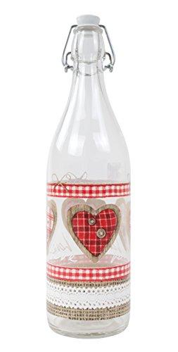 Glazen fles met beugelsluiting 1 liter Love waterfles drinkfles fles