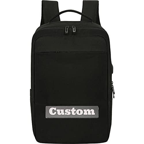 FireH Mochila de Nombre Personalizada para niñas Mujeres portátil Bolsa de Laptop 15.6 Pulgadas Monedero USB Ordenador Bolso Escolar (Color : Black, Size : One Size)