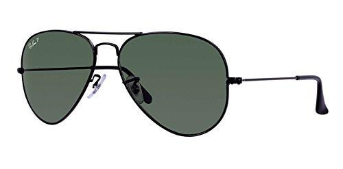 Ray Ban RB3025 Aviator Sunglasses Unisex (55 mm Frame Black Polarized Solid Lens, 55 mm Frame Black Polarized Solid Lens)