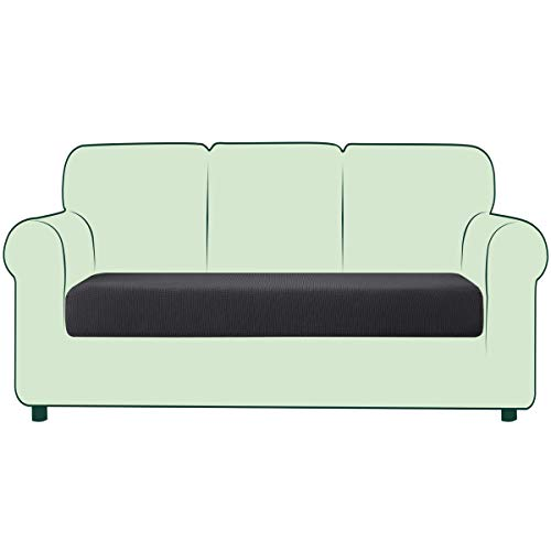 CHUN YI 1 Stück Sofa Sitzkissenbezug Stretch Sitzkissenschutz Elastischer Husse Überzug für Sofa Sitzkissen rutschfest Stoff Möbelschutz(3-Sitzer, Grau)