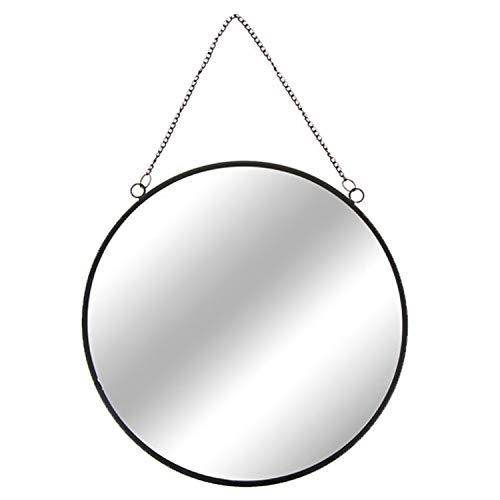 INDA-Exclusiv Runder Wandspiegel schwarz Rundspiegel Dekospiegel Hängespiegel Spiegel inkl. Kette Ø 30 cm