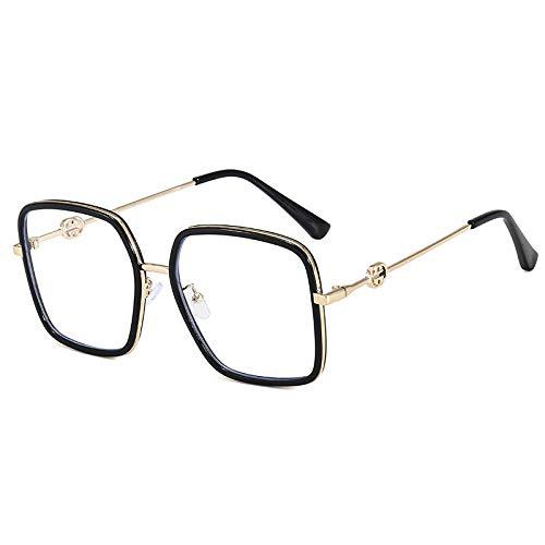 Neue netto rote große Box quadratische anti-blaue Brille für Büro-Schwarzgoldrahmen