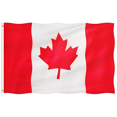 foxany 3 x 5 Ft Canada Flag, Canadian National Flag, Maple Leaf Flags, UV Fade Resistant, Double Stitched & Polyester & Brass Grommets Decoration for Outdoor, Garden