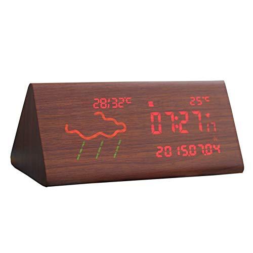 XF-B WiFi Reloj Despertador Digital Pantalla LED Estación Meteorológica Inalámbrica Pronóstico For El Hogar Decoración Luminoso Cama Reloj (Color : Dark, Size : B)