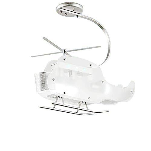 LLLKKK Lámpara de techo infantil, para dormitorio, mando a distancia, diseño de avión, cristal y acero, lámpara colgante para salón, acabado cromado