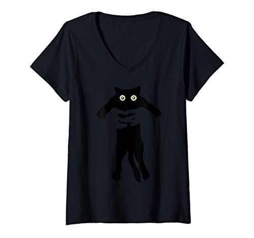 Donna Gatto divertente - Gatto divertente che viene sollevato Maglietta con Collo a V