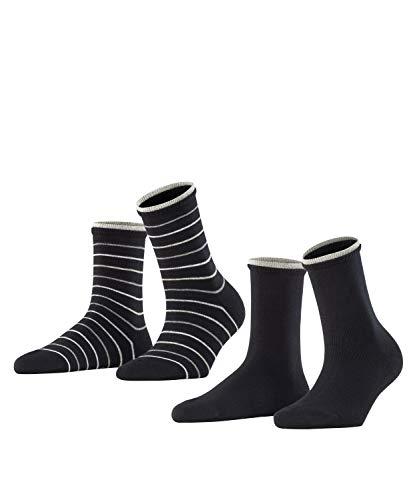 ESPRIT Damen Easy Stripe 2-Pack W SO Hausschuh-Socken, Schwarz (Black 3000), 35-38 (2er Pack)