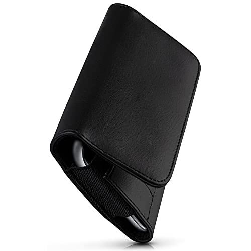 moex Komfortable Quertasche mit Gürtelclip kompatibel mit TP-Link Neffos X1 | Universal einsetzbar mit Gürtelschlaufe & Magnetverschluss, Schwarz