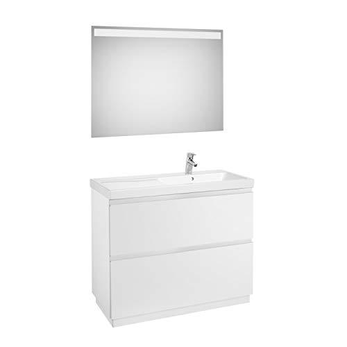 Lavandino posizione destra + Mobile base a 2 cassetti a terra + specchio LED, confezione Lander...