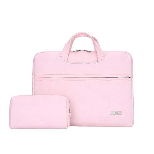 WYHP 13-15,6 inch laptop schoudertas beschermhoes Briefcase Met PU leder stof en Grey Strap (Color : Pink, Size : 14inch)