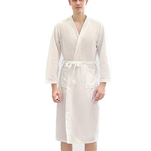 DUJUN Herren Waffel Bademantel, dünner Herren Kimono, 2 Taschen, Gürtel - weicher, saugfähiger, komfortabler Spa Hotel Dampfanzugweiß3XL