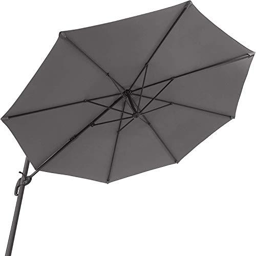 SHBV Parasol de jardín de Aluminio Coaster con Poste Lateral y manivela con Soporte Ajustable en Altura Plegable protección UV 50+ diámetro 300 cm Gris