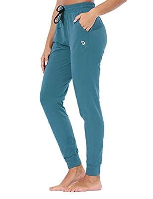 BALEAF EVO Women's Joggers Sweatpants Cotton Tapered Yoga Workout Lounge Pants Jersey Track Cuff Sweat Pants Pockets Copen Blue M