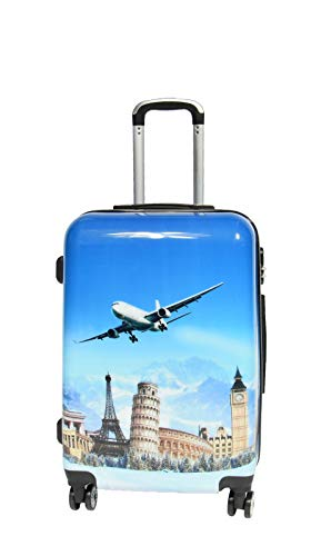 Cabin Size Check-in Luggage Hard Shell 4 Wheel Suitcase Travel Bag Aeroplane Print