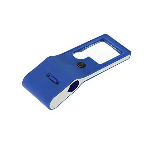 Portable Handheld Magnifying Glass 3X 10X Magnifier 55X Microscope with LED & UV Lights for Reading Coins Stamps Jewelry Appraisal Watch Repair Tool (Blue)