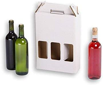 Cajas para botellas de vino automontables. Estuche de cartón, automontables, medida estándar. TeleCajas X20CBVB3 (x20) (para 3 botellas)
