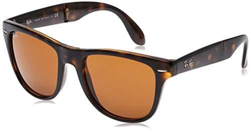 Ray-Ban Unisex Folding Wayfarer Sonnenbrille, Braun (Gestell: Havana, Gläser: Hellbraun Verlauf 710), Large (Herstellergröße: 54)