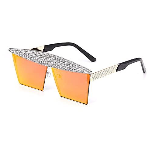 ShZyywrl Gafas De Sol De Moda Unisex Gafas De Sol Cuadradas De Moda para Mujer, Gafas De Sol Steampunk con Espejo, Gafas De Sol para Hombre, Gafas Uv400, Gafas