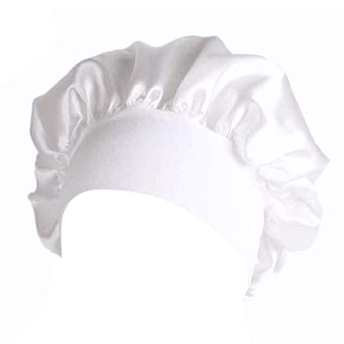 Lunji Bonnet de Douche Très élastique - pour Bain, Chimio, Dormir, Maquillage (Blanc)