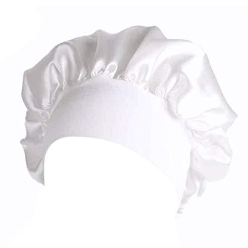Preisvergleich Produktbild huiouer Damen Satin-Schlafmütze,  volle Abdeckung,  weiche Nacht-Schlafmütze weiß