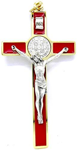 GTBITALY 10.389.21 SS Cruz de San Benito Rojo Esmaltada a mano Medida 12 cm Oro con Anillo Exorcista