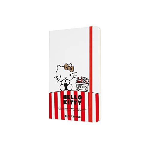 Moleskine Hello Kitty - Cuaderno con páginas blancas, tamaño grande 13 x 21 cm, tapa dura, color blanco