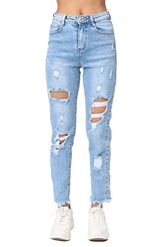 Crazy Age Damen Skinny Jeans Rissen Löcher kaputte Destroyed Damaged Jeanshosen Ripped, Skinny, Blue Destroyed Jeans, Mittlere Taille, Stretch-Material, Classic Five-Pocket, (Blau(34900), 40)