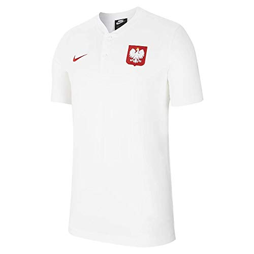Nike 2020-2021 Poland Authentic Polo Football Soccer T-Shirt Jersey (White)