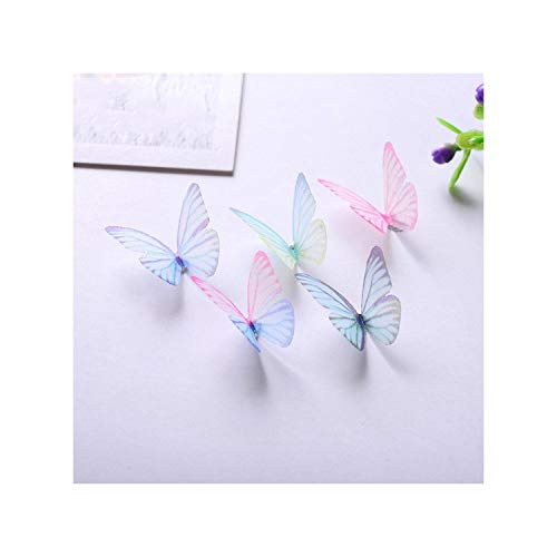 3D Diy 10Pcs Rainbow Fresh Natural Fabric Hollow Butterfly Charm Nail Decoration Nail Art Jewelry Nail Accessories,As Picture