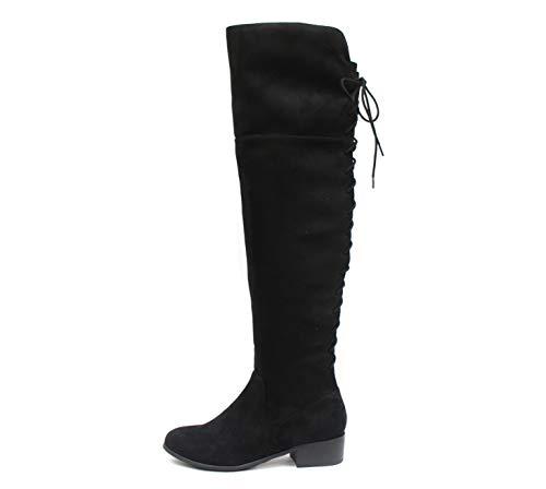Soda Barbra ~ Low Block Heel Overknee-Stiefel mit Schnürung hinten und funktionellem seitlichem Reißverschluss (11, schwarz)