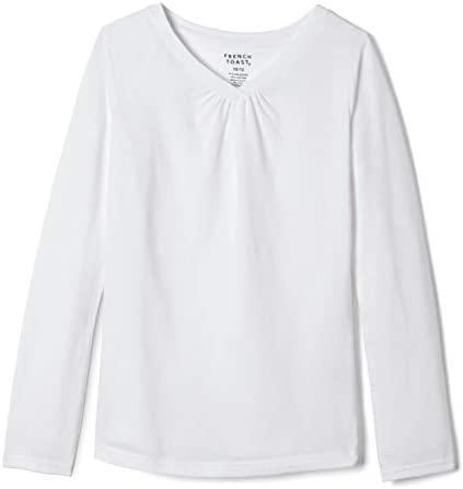 French Toast Girls Little Long Sleeve V Neck Tee White 6X product image