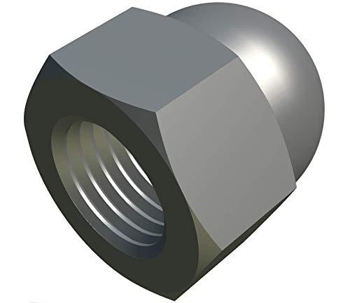 M5 Tuercas Domo Hexagonales (Paquete de 10) Chapado en Zinc de Latón Tapa Decorativa Cabeza Cubierta para Tornillos/Pernos - Tapa de Protección Estándar Certificado DIN 1587 Plateado (7.5mm x 8mm)