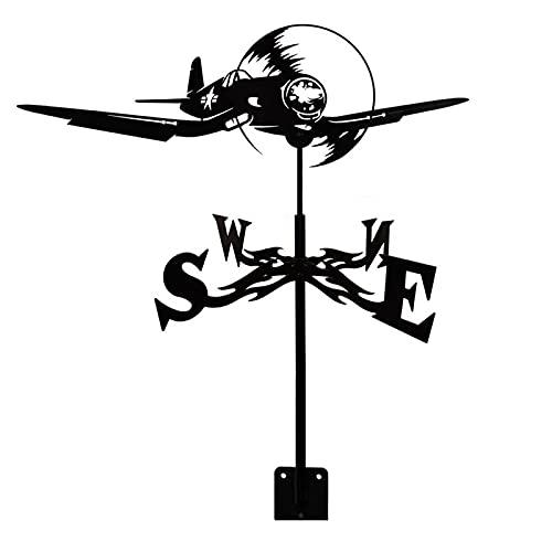 YDHNB Veleta de Acero Inoxidable Veleta de Viento de Granja Retro Avión de Combate Durable Escena jardín Veleta Herramienta de medición Profesional jardín Patio fácil de Usar e Instalar