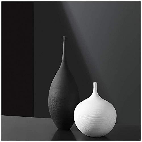 ZMHVOL Juego de jarrones cerámicos Negros Blancos, Adornos Minimalistas Modernos Sala de Estar decoración de decoración de la decoración, Conjunto 5 WANGHN