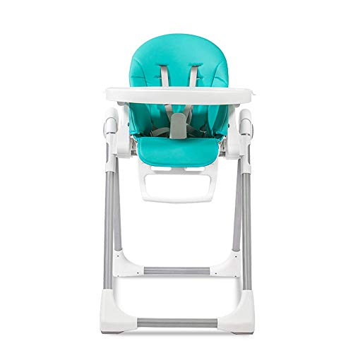 Best Price! Foldable Baby High Chair, Food-Grade Detachable Double-Layer Dining Plate, Height-Adjustable Dining Chair (Color : Blue)