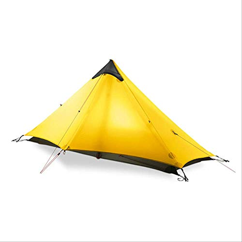BAJIE tent Gear Lan Shan 1 Ultralight 15D Silicone Coated 1 Man Single Person Backpacking Tent 3 Season For Camping Hiking Trekking 15D Yellow 1 People