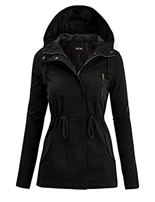 FASHION BOOMY Women's Zip Up Safari Military Anorak Jacket with Hood Drawstring - Regular and Plus Sizes 3XL Black
