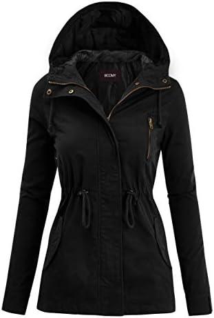 FASHION BOOMY Women s Zip Up Safari Military Anorak Jacket with Hood Drawstring Regular and product image