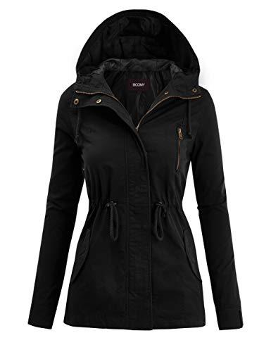 FASHION BOOMY Women's Zip Up Safari Military Anorak Jacket with Hood Drawstring - Regular and Plus Sizes Medium Black