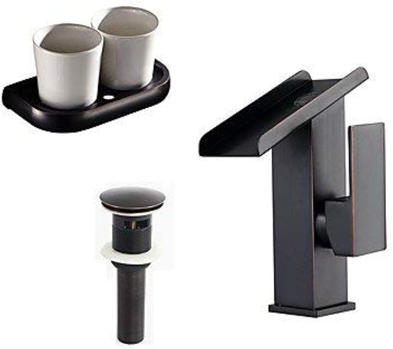 Antico Art d \u0026 Eacute; co RETR \u0026 ograve; Modern Waterfall Lavatory with Ceramic Valve A knob A Hole for Polished Bronze, Sink Faucet