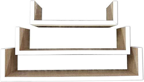 khevga Estantería flotante de pared de madera, color blanco