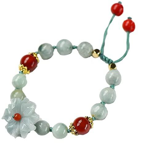 PAYNAN Pulsera de flores de jade natural con esmeralda, ajustable, accesorios para mujer, amuleto