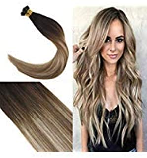 Youngsee 18inch Balayage Nano Ring Hair Extensions Darkest Brown to Medium Brown with Blonde Ombre Human Hair Nano Bead Hair Extensions 50strands 50g