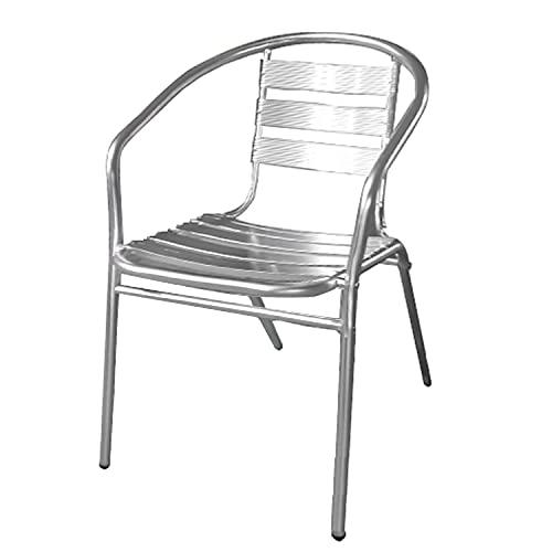 PAPILLON 8042015 Silla Terraza Aluminio con Brazos Apilable, Plateado, 56x55x75 cm ⭐