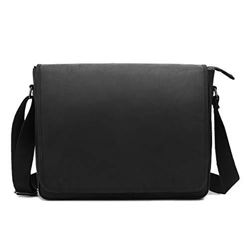 Leathario Bolso Hombre de Piel Bandolera Cuero Documento Portátil Messenger Bag Multifuncioal (Negro 45)