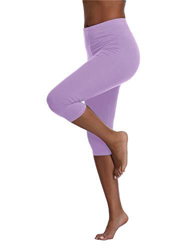 Kotii Women's Summer Soft Capri Leggings Crop Leggings 3/4 Stretch Yoga Pants Light Purple