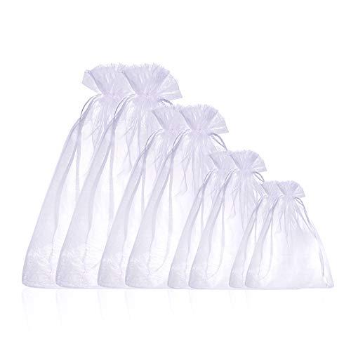 Gredstar 100 Stück Organzasäckchen Lavendelsäckchen Säckchen zum Befüllen Säckli in 4 Verschiedene Größen(7x9cm,9x12cm,15x20cm,20x30cm) (Weiß)