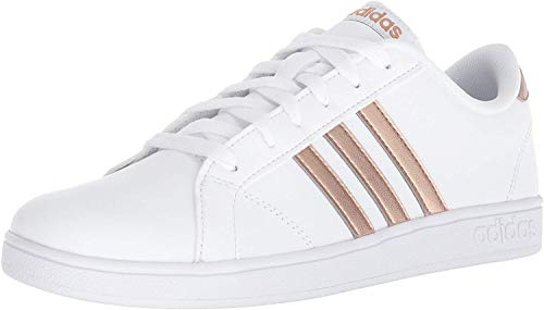 adidas Unisex-Kid's Baseline Sneaker, White/Copper Metallic/Black, 1.5