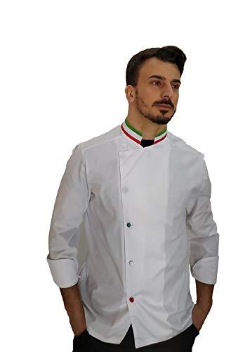 Giacca da Cuoco e Chef Manica Lunga - per Uomo - Bianca-Italia con Bottoni a Pressione - Casacca per Ristorante e Cucina - Ricamo Gratuito - Made in Italy (XXL)